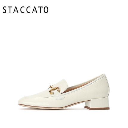 Staccato Giày Loafer / giày lười Staccato 2020 mùa xuân mới vuông đầu giày đơn giày đế mềm kem giày