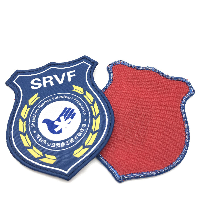phù hiệu vải Các nhà sản xuất Thêu Vải Dán Huy hiệu Trường Dệt Patch Velcro Ngực Armband Chụp Hook A