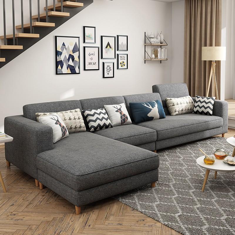 ASJN Nội thất Sofa vải Bắc Âu phòng khách tối giản căn hộ nhỏ góc kết hợp hiện đại gói nội thất sofa
