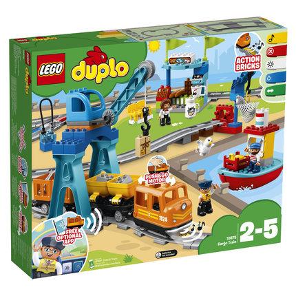 LEGO Thị trường đồ chơi  Lego tàu nhỏ theo dõi xe điện vận chuyển hàng hóa thông minh 10875 khối hạt