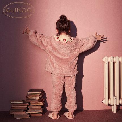 Gukoo  Đồ ngủ trẻ em Gukoo / nut shell flannel đồ ngủ trẻ em phụ nữ mùa thu và mùa đông cô gái đồ ng