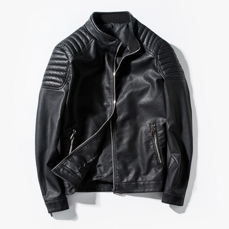 GEYANG Áo khoác nam xe máy Pu Leather Jacket Nhật Bản áo khoác bán buôn