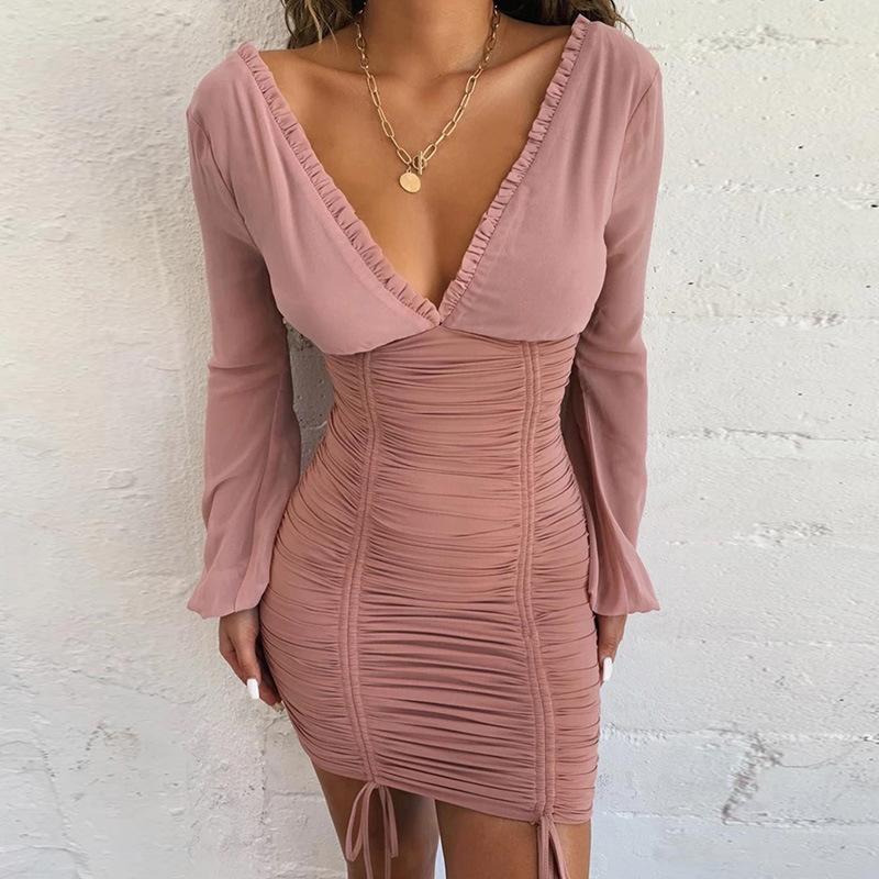 Thời trang Bước vào mùa thu 2019 hot hot mới dành cho phụ nữ diện áo tay dài cổ chữ V hở lưng xếp li