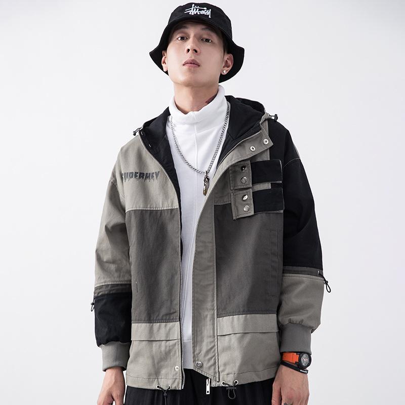 DINGBING Áo khoác nam nam 2019 mùa thu mới phiên bản Hàn Quốc của xu hướng mũ trùm đầu màu khóa kéo