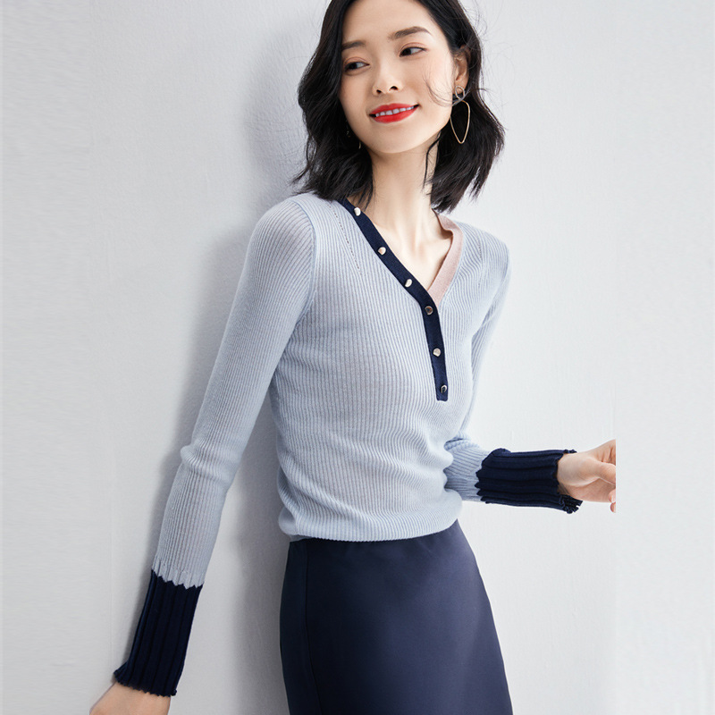 MEIYI Thời trang nữ Áo dệt kim ngắn mùa thu nữ 2020 hoang dã mới phương Tây khâu áo len màu sắc thời