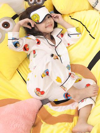 Đồ ngủ trẻ em Bộ đồ ngủ trẻ em nữ mùa xuân và mùa thu cotton phù hợp với tay dài mảnh bé gái bé gái