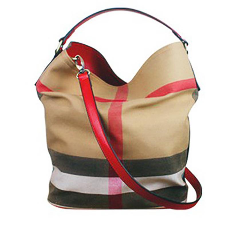 BAIBAOYI Túi xách Túi điểm mới của phụ nữ Túi xô từ cùng một túi vải bố lưới vai sao