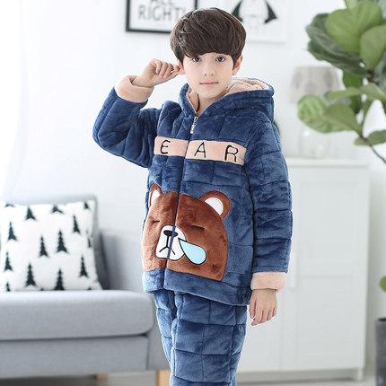 Đồ ngủ trẻ em Đồ ngủ cho bé trai mùa đông dày phần lông cừu san hô ba lớp chần cho bé trai mùa thu v