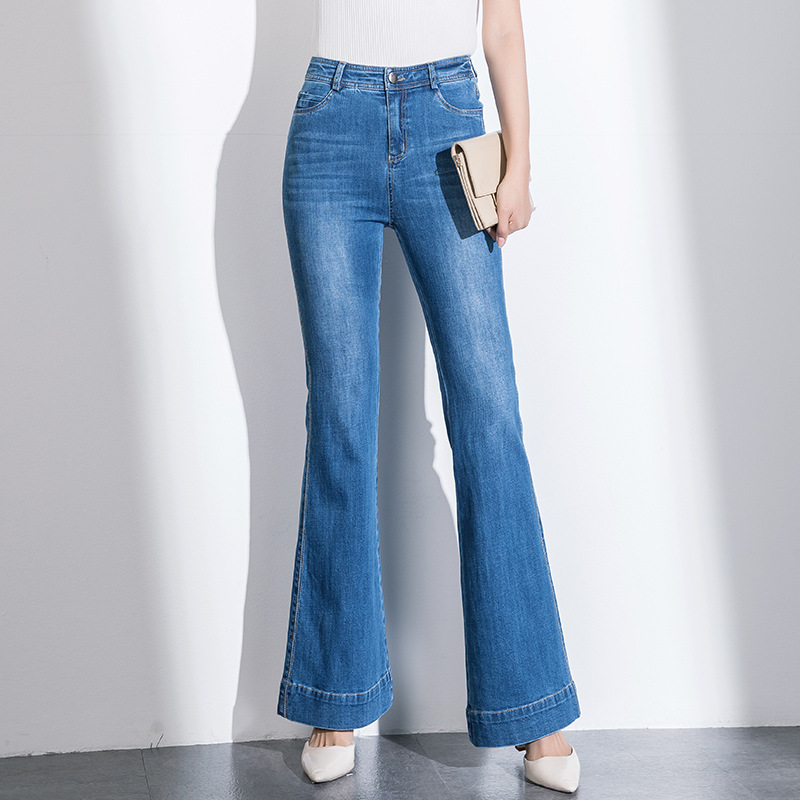 YIFEI Thời trang 2020 Mùa xuân Quần jean mới Phụ nữ Quần ống loe Hàn Quốc Quần Micro Quần nữ Nhà sản