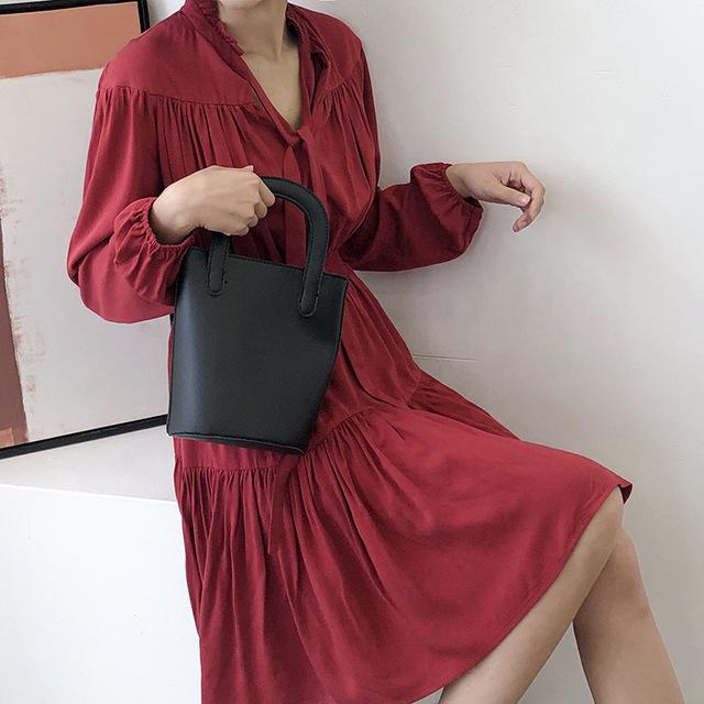 ZMRA Thời trang nữ Đàn ông phiên bản màu xanh Hàn Quốc của phụ nữ mới váy dài tay nữ cỡ lớn thời tra