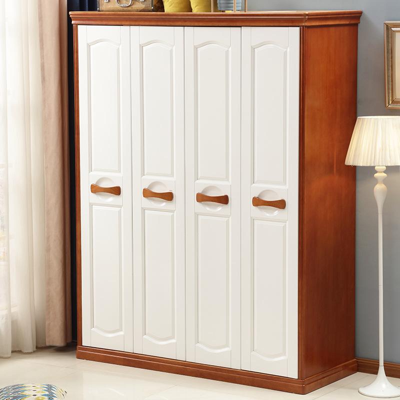XINDING Nội thất Tủ quần áo gỗ rắn Địa Trung Hải tủ quần áo gỗ đơn giản 3 cửa 4 cửa 5 cửa 6 cánh cao