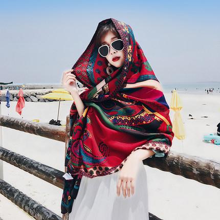 Aiyou Khăn bãi cát  Mùa xuân và mùa hè khăn choàng hoang dã phong cách quốc gia Hàn Quốc khăn quàng