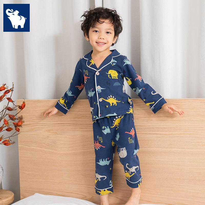 LWLY Đồ ngủ trẻ em Bộ đồ chơi trẻ em cotton cho bé Bộ đồ ngủ cotton mùa đông mới khủng long lớn card