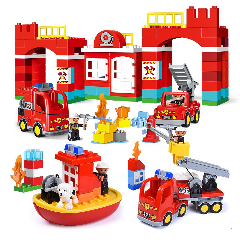Gegele Thị trường đồ chơi trẻ em hạt lớn khai sáng lắp ráp và chèn lửa xây dựng chủ đề khối đồ chơi