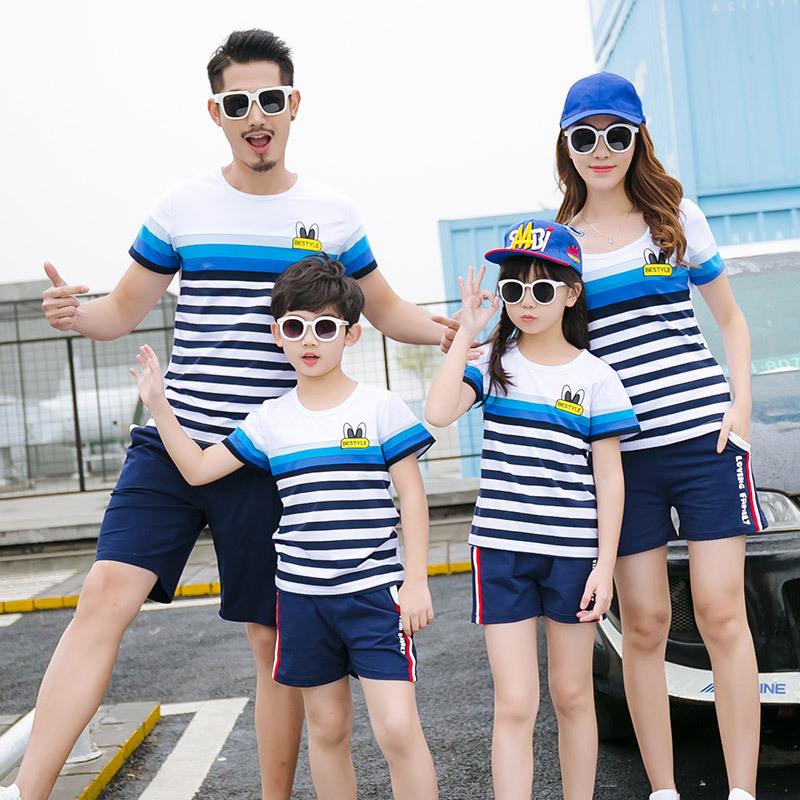 AIMAXUN Áo thun gia đình Phụ huynh-trẻ em mặc áo thun ngắn tay mới xuất xưởng bán quần áo cotton trự