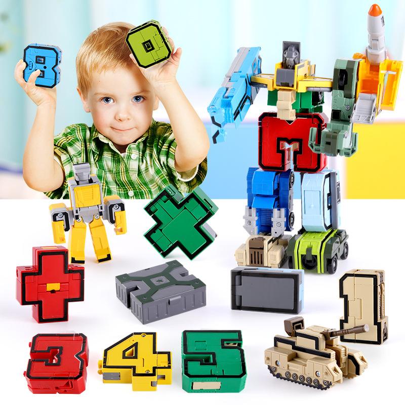 GUDI Thị trường đồ chơi Xinlexin 2801-8 Nhóm biến dạng kỹ thuật số Robot King Kong lắp ráp khối lượn