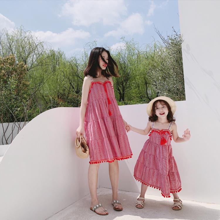 CR.KIDS  thun gia đình Cha mẹ-con 19 mùa hè mới trẻ em tua rua váy đầm thời trang nổi tiếng thời tra
