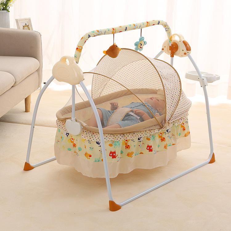 Sanplo Khăn yếm Nôi điện nôi em bé nôi thông minh tự động đặt nôi em bé nôi điện tự động