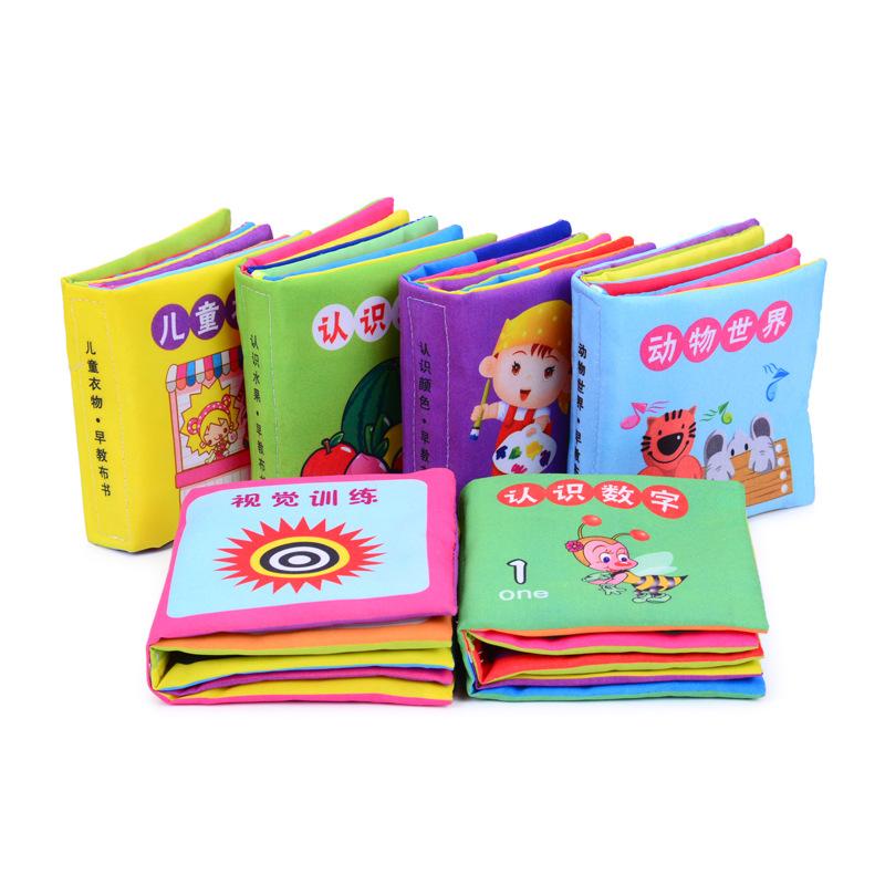 MIAOMIAOHOU Đồ giảng dạy trẻ sơ sinh Cuốn sách vải bé Đồ chơi bằng vải cho trẻ sơ sinh và trẻ mới bi