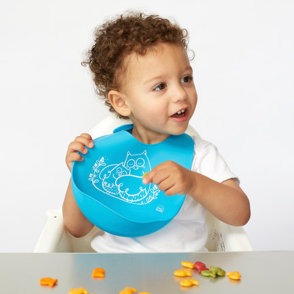 Moderntwist Khăn yếm  [Direct] American Moderntwist Nhập khẩu Baby Soft Silicone Ăn Bib Trẻ em điều