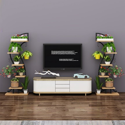 HALO Thép tấm  Phòng khách TV tường nền khung trang trí góc hoa kệ phân vùng kệ sách kệ sắt hẹp tầng
