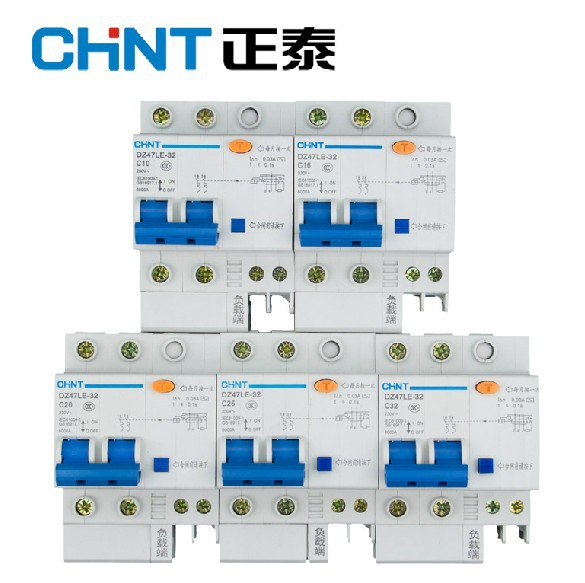 Chint household air switch protector DZ47LE-2P 3P32A40A60A breaker leakage protection