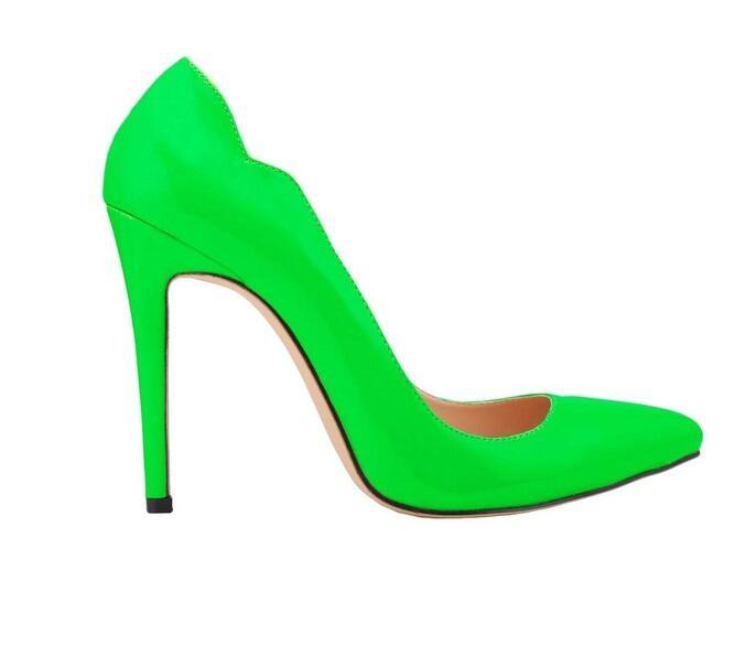 Giày cao gót nữ mũi nhọn màu xanh lá Win Fong