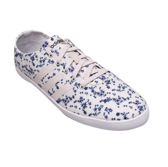 Giày thể thao lười Adidas trắng mix họa tiết hoa xanh