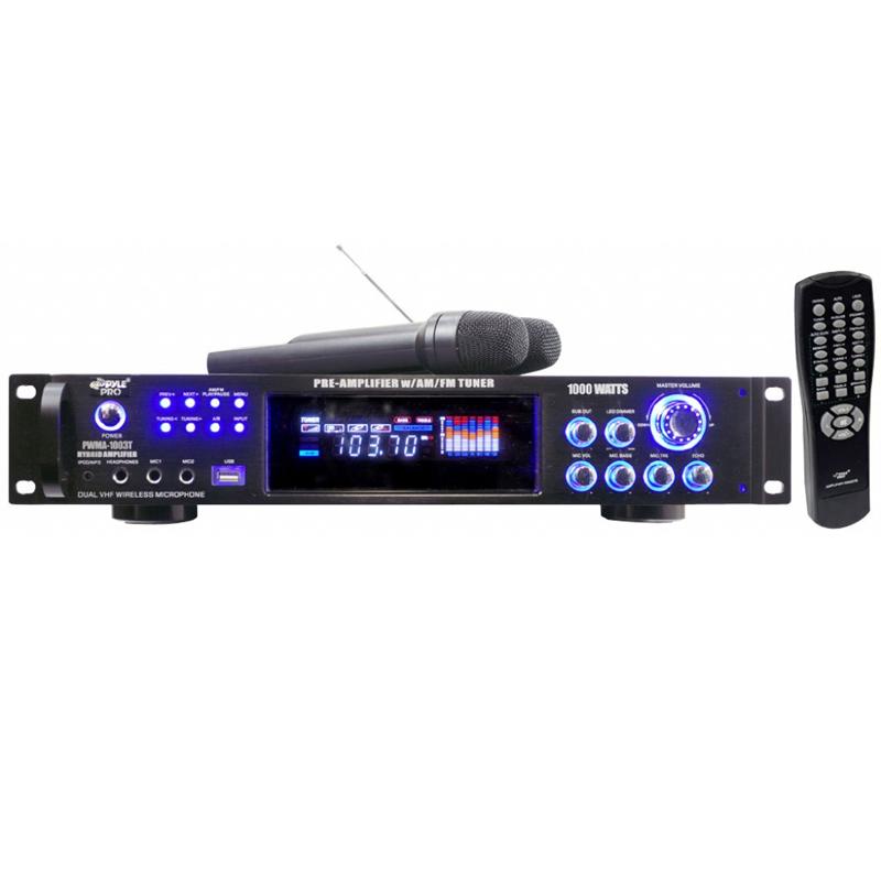 Amplificador karaoke 1000W/FM/IPOD/MP3/USB/MD/2 micros