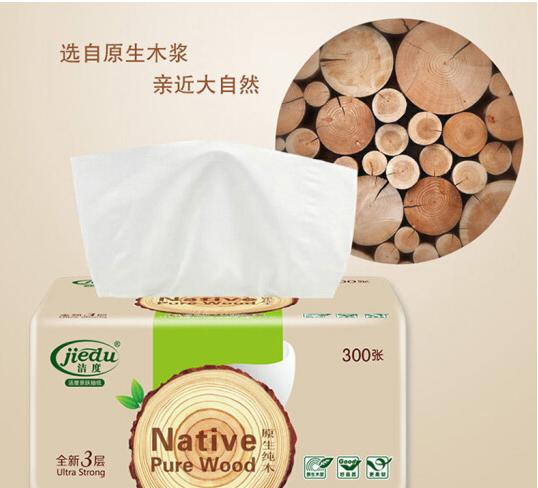 jiedu Sợi len Jade độ (jiedu) gỗ thô hút giấy gói 100 hút *3 lớp 8 (nhỏ cỡ) gia đình khăn giấy giả h
