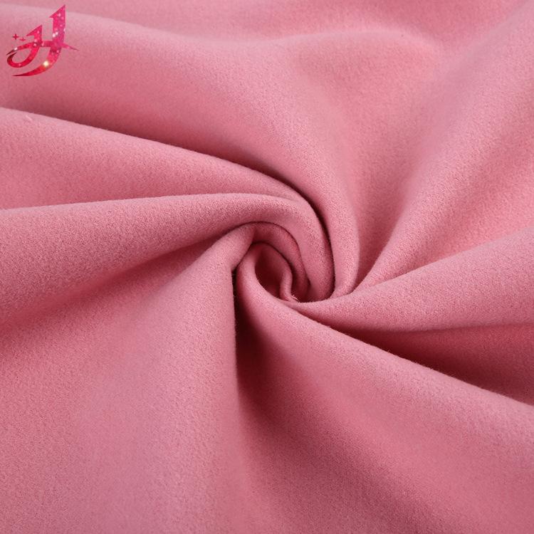 Tr hai mặt thân thiện với môi trường nhuộm pha trộn 300D chải len coat coat váy quần áo vải mùa thu