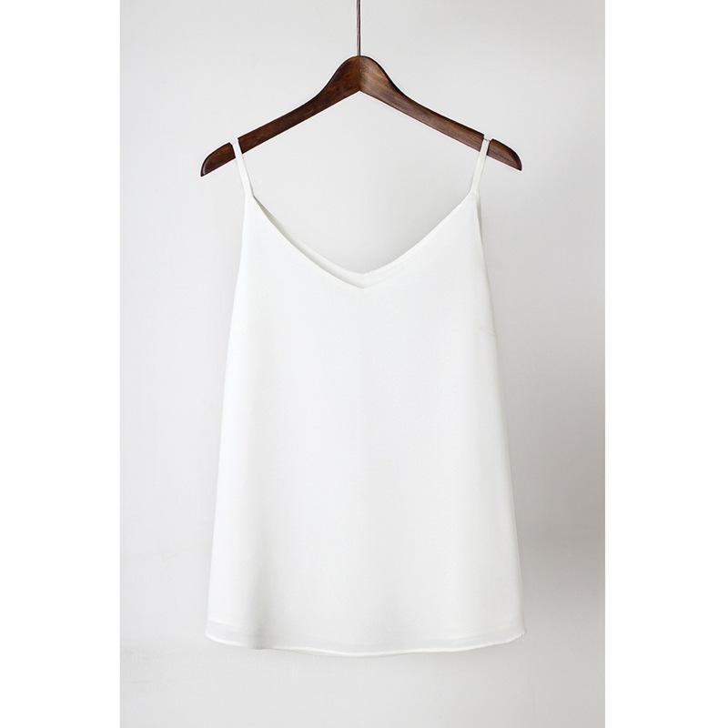 Tại chỗ bán buôn mùa xuân và mùa hè lỏng V-cổ voan yếm trong vest vest đôi bên trong áo sơ mi lụa dư