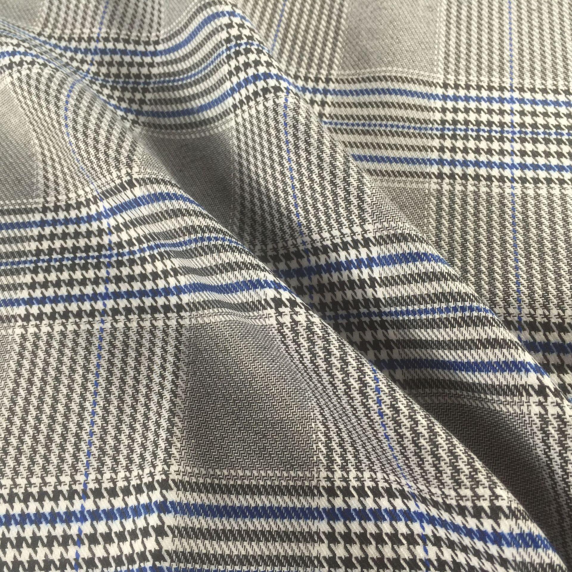 Off-the-shelf nhà sản xuất TR kẻ sọc vải căng polyester phù hợp với áo giản dị màu dệt houndstooth v