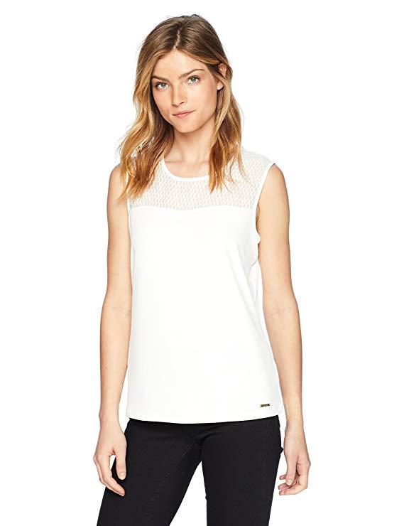 Áo thun nữ dệt kim cổ tròn Calvin Klein