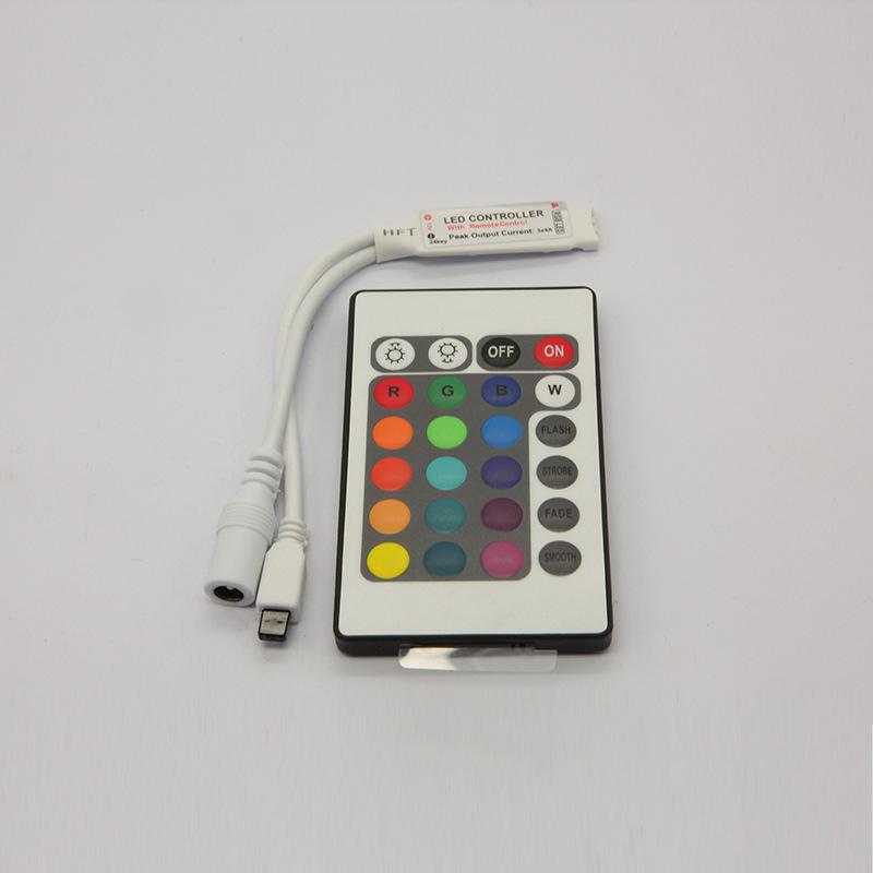Bán buôn 24 phím nhỏ hồng ngoại điều khiển từ xa màu tone IR mờ điều khiển RGB đầy đủ màu sắc ma thu