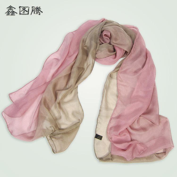 Mùa thu mới khăn lụa nữ Hàn Quốc vẽ tay gradient kem chống nắng nữ khăn lụa cross-biên giới bán buôn