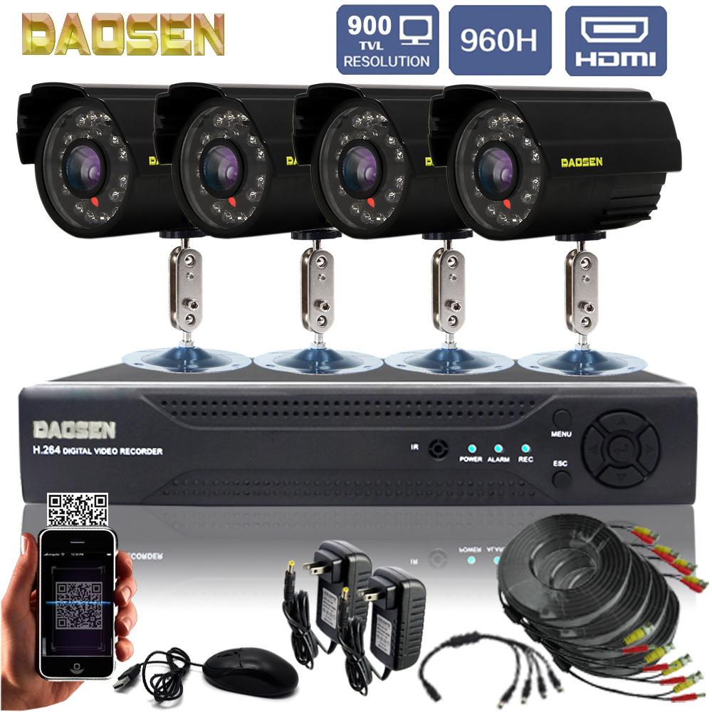 DAOSEN Bộ giám sát an ninh 4 chiều gói 900 thiết bị HD gói hệ thống tích hợp video từ xa