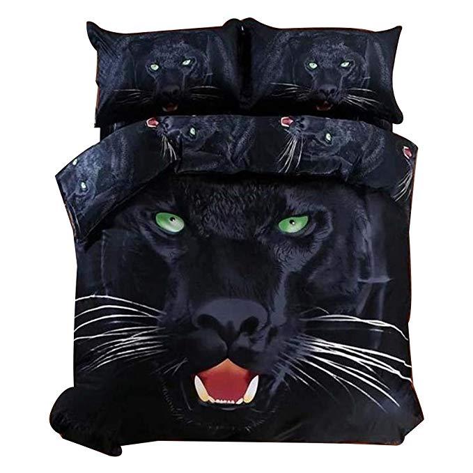 Beddingnn TOP CLASS 4 piece đen leopard print 3 D bộ giường, giường đôi