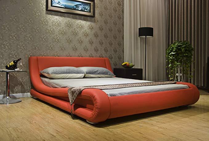 Sidi Yalan Hiện đại và sáng tạo cong arc cạnh giường ngủ thiết kế giả da mềm gói giường UB1070 (150x
