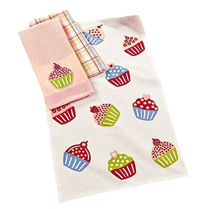 3 miếng. Bộ khăn bếp mùa xuân Cupcake