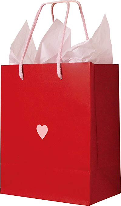 ERCEN túi giấy hình trái tim màu đỏ