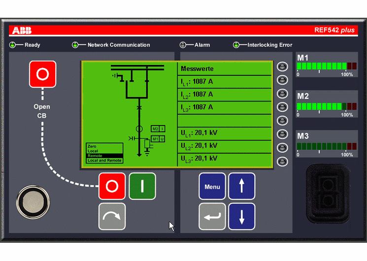 REF542PLUS xưởng chính phẩm ABB Brand HMI giao diện máy cũ.