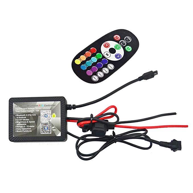 NBWDY Universal Dc12v Chống nước IP 68 Bluetooth Bluetooth LED Âm nhạc RGB Bộ điều khiển 4.0 cho xe