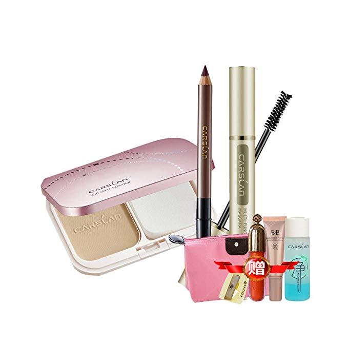 CARSLAN 1 set makeup gồm 3 cái (phấn bột 9g + mascara 6g + lông mày bút chì 1g)