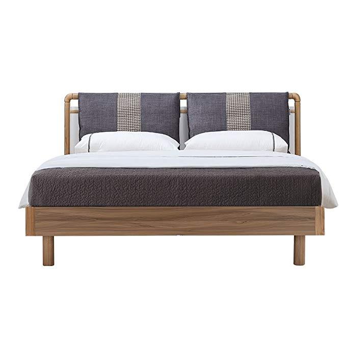 Giường liên bang giường gỗ Rắn Hiện Đại nhỏ gọn Rắn giường gỗ Vải mềm 1.5 m giường Cưới nội thất Phò