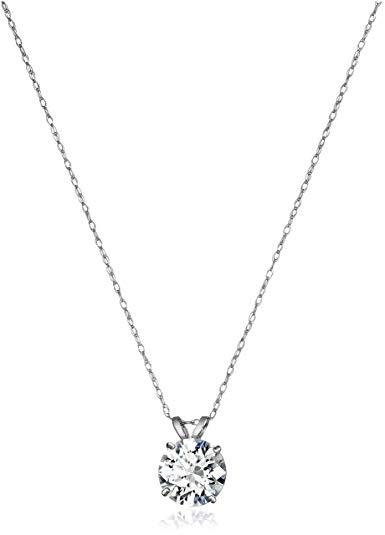 Bộ sưu tập  vàng 10k Necklace với Solitaire Swarovski Zirconia Pendant (2 cttw), 18-Inch.