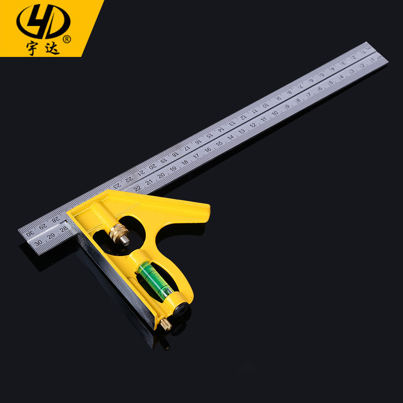 Thước đo góc bằng thép không gỉ công cụ đo dân dụng vuông chính xác cao 300MM