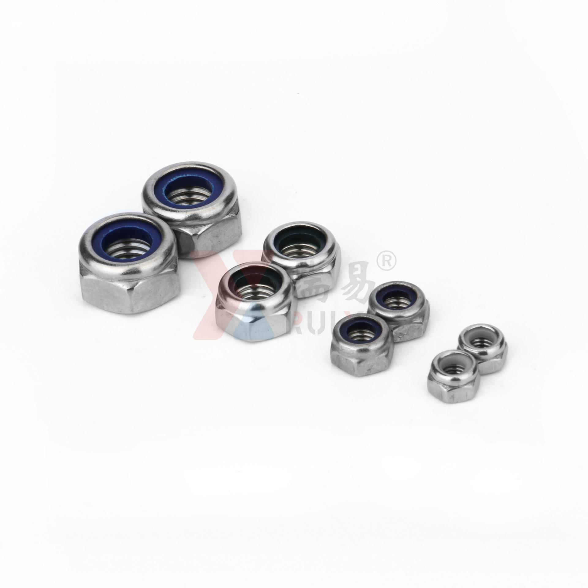 RUIYI Tán Đai ốc bằng thép không gỉ 304 đai ốc DIN985 tự khóa Đai ốc không kim loại M2-M36
