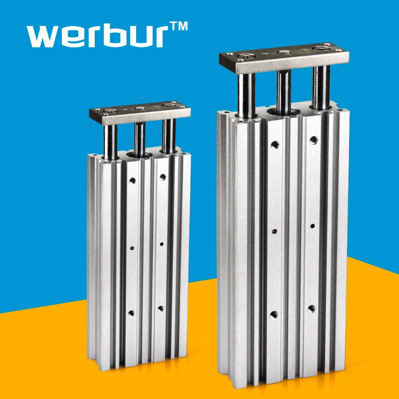 WERBUR Ống xilanh Xy lanh ba trục 12/40/50/63 xy lanh tiêu chuẩn đường kính MGPM ba thành phần khí n