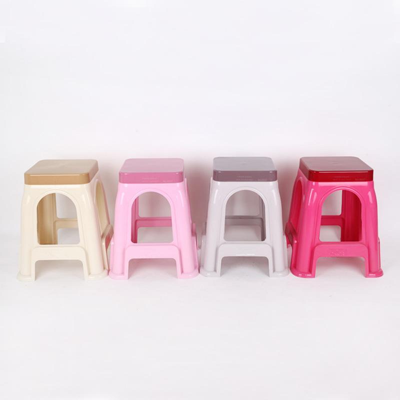 HLGJ Đồ dùng gia dụng Ghế nhựa phân dày hai màu giả ghế gỗ hàng ngày khách sạn nhà hàng nhựa vuông p